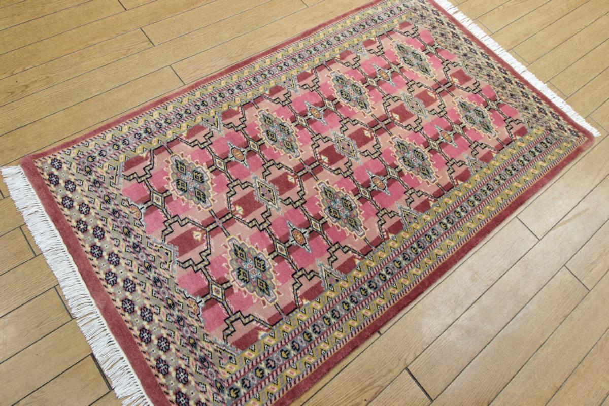 SALE 最高級カーペット パキスタン手織り絨毯 インテリアラグ 玄関マット アクセントラグ 73x125cm/GH575_画像2