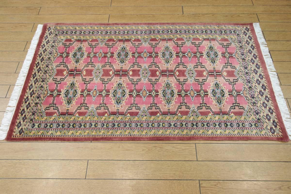 SALE 最高級カーペット パキスタン手織り絨毯 インテリアラグ 玄関マット アクセントラグ 73x125cm/GH575_画像10