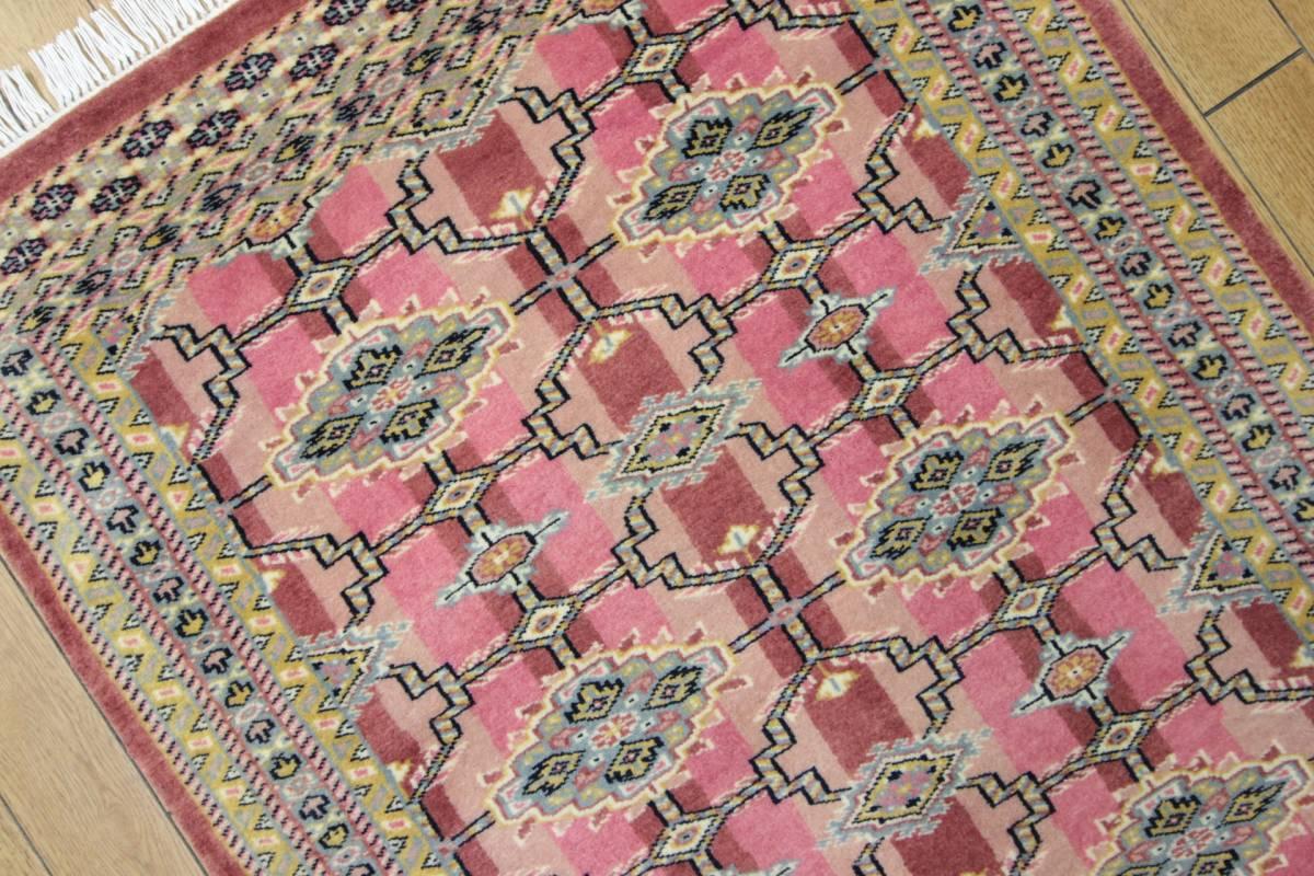 SALE 最高級カーペット パキスタン手織り絨毯 インテリアラグ 玄関マット アクセントラグ 73x125cm/GH575_画像4