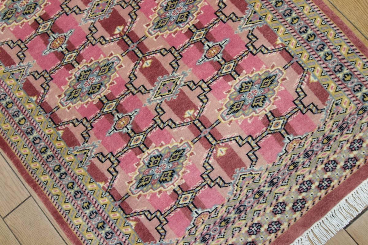 SALE 最高級カーペット パキスタン手織り絨毯 インテリアラグ 玄関マット アクセントラグ 73x125cm/GH575_画像5