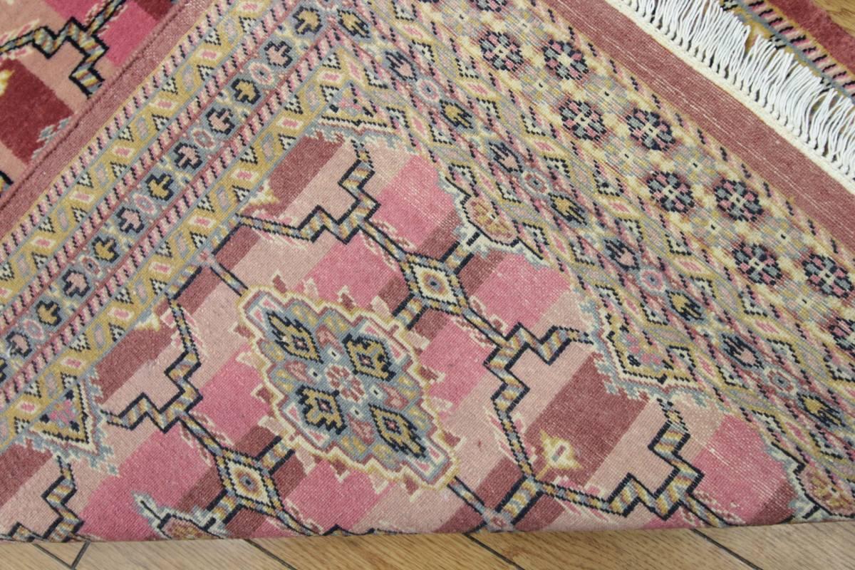 SALE 最高級カーペット パキスタン手織り絨毯 インテリアラグ 玄関マット アクセントラグ 73x125cm/GH575_画像6