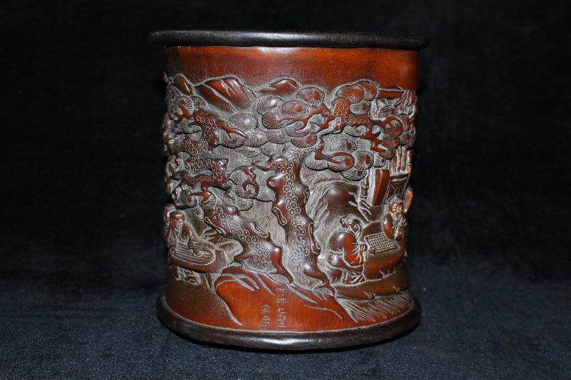 稀少珍品 竹材手彫 松下老人 筆筒 筆立 稀少 年代物111610