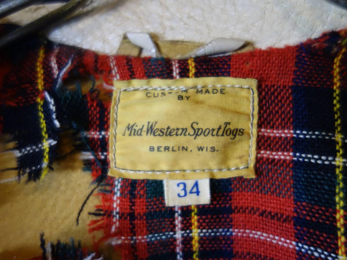 60s-70s Mid-WesternSportsTogs ビンテージ ディアスキン 鹿革 レザージャケット ライダース アイボリー 34 ダメージ グランジ ロック_画像7