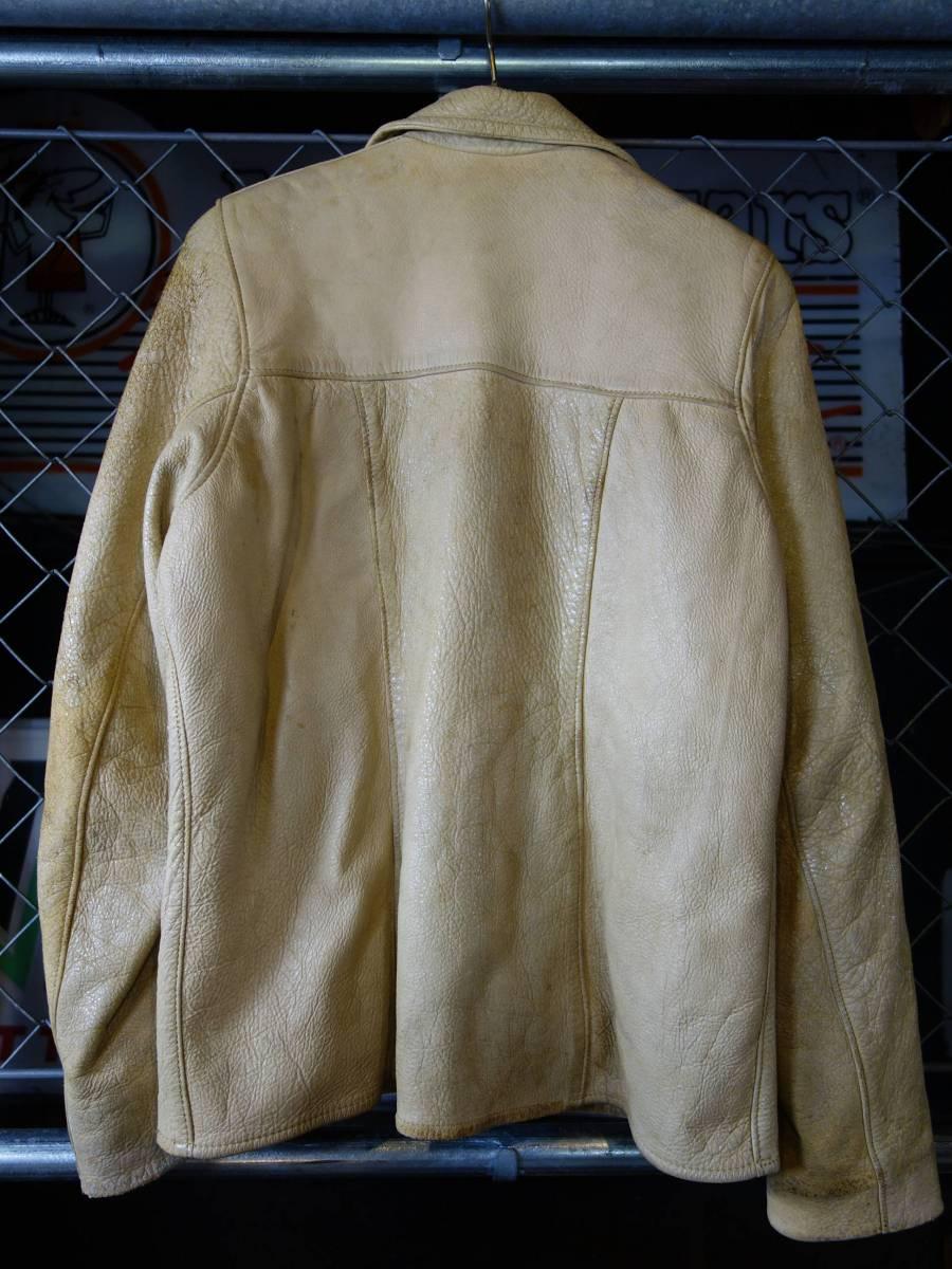 60s-70s Mid-WesternSportsTogs ビンテージ ディアスキン 鹿革 レザージャケット ライダース アイボリー 34 ダメージ グランジ ロック_画像9