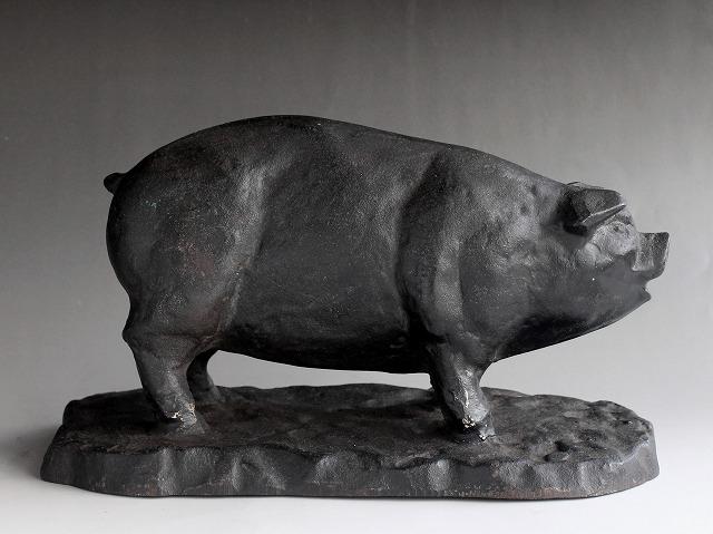 希少 アンティーク 昔の肉屋さんの店頭展示品 豚の置物 肉の部位名 鋳鉄製 精肉店 時代物 和骨董 古道具_画像2