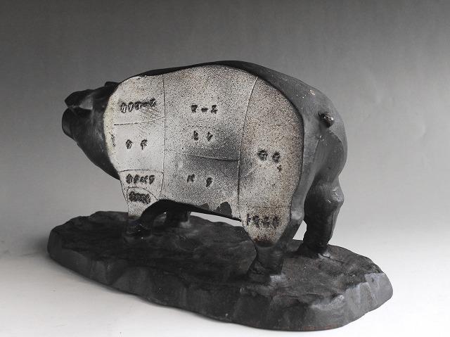 希少 アンティーク 昔の肉屋さんの店頭展示品 豚の置物 肉の部位名 鋳鉄製 精肉店 時代物 和骨董 古道具_画像5
