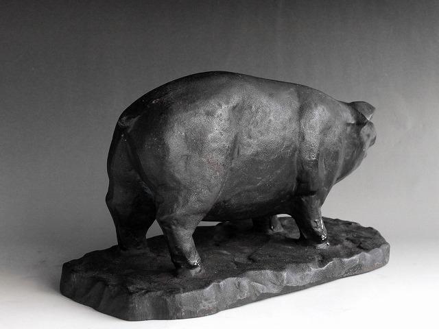 希少 アンティーク 昔の肉屋さんの店頭展示品 豚の置物 肉の部位名 鋳鉄製 精肉店 時代物 和骨董 古道具_画像6
