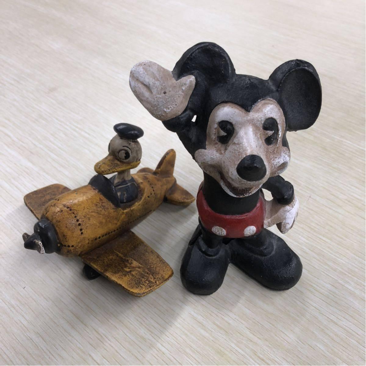 アンティーク/ミッキーマウス/鉄製/貯金箱/ドナルドダック/飛行機/2体セット ディズニーグッズの画像