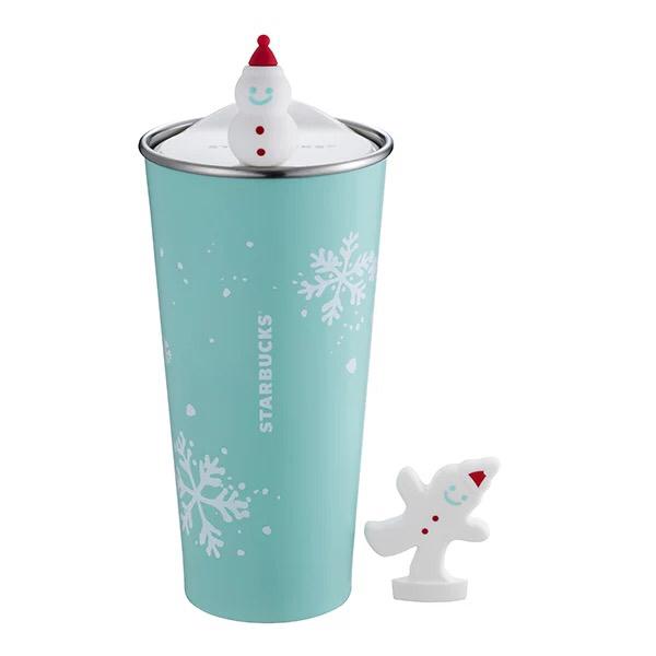 即決海外スターバックス 雪の結晶 雪だるま サンタ ステンレスタンブラー TOGO 保温保冷 水筒 オーナメント クリスマス 青 韓国 台湾