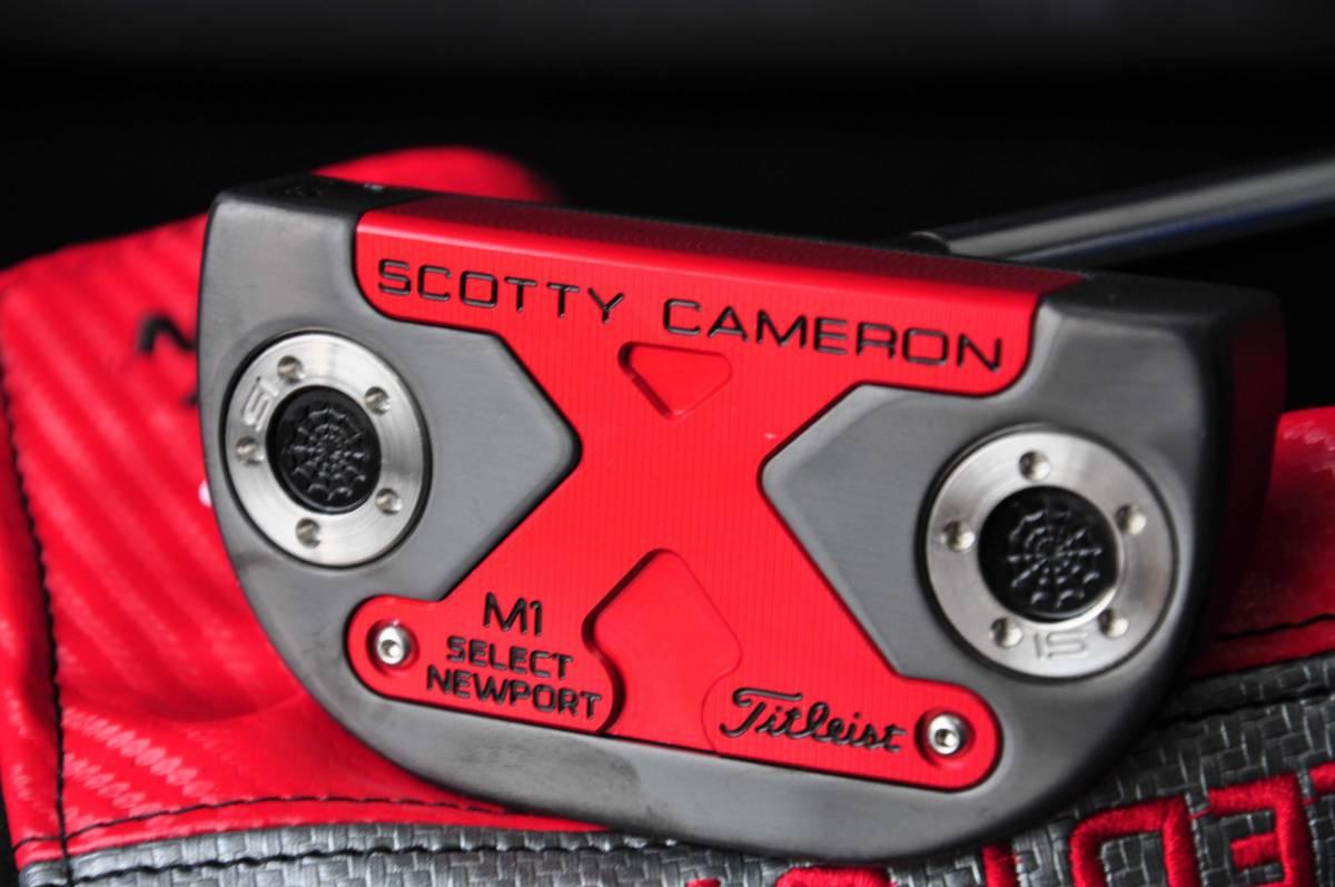 スコッティキャメロン カスタムパター ニューポート M1 [NEXT] Black & Red Side Face Skull センターシャフト 34inch