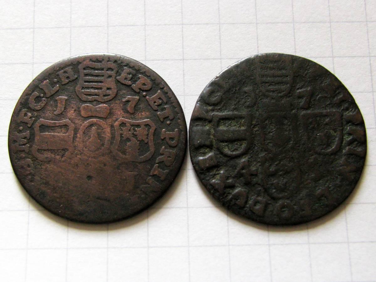 ◆18世紀ベルギー【リエージュ司教領 リアール銅貨】1745&17?1年