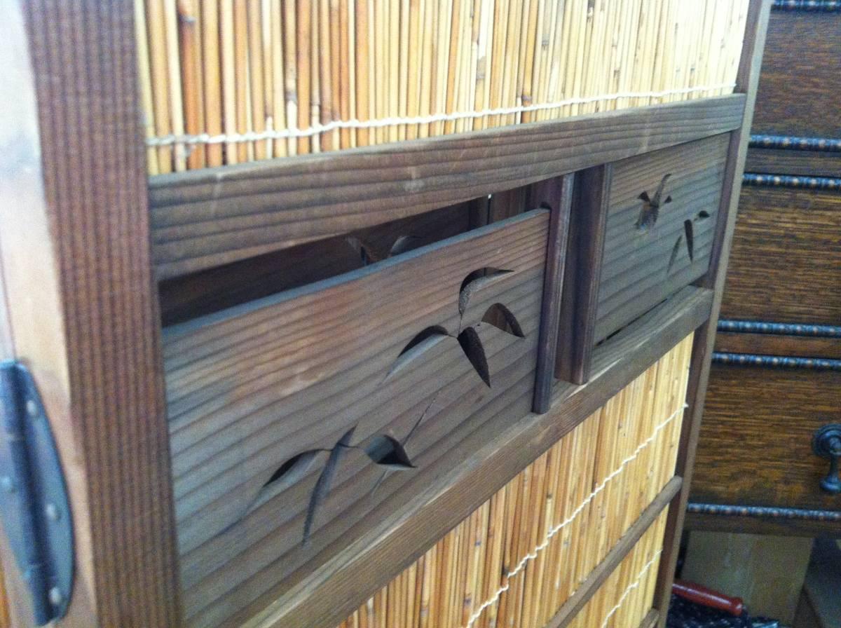 ☆ 送料無料 木製 和風 和室 4連 アンティーク レトロ 折りたたみ パーティション 衝立_画像6