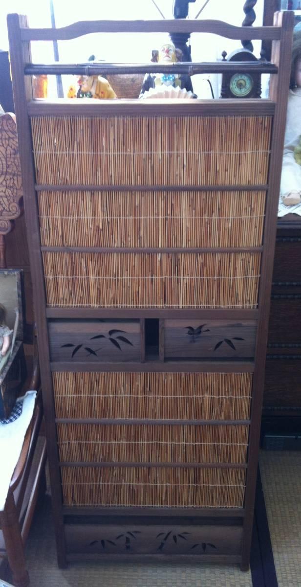 ☆ 送料無料 木製 和風 和室 4連 アンティーク レトロ 折りたたみ パーティション 衝立_画像3