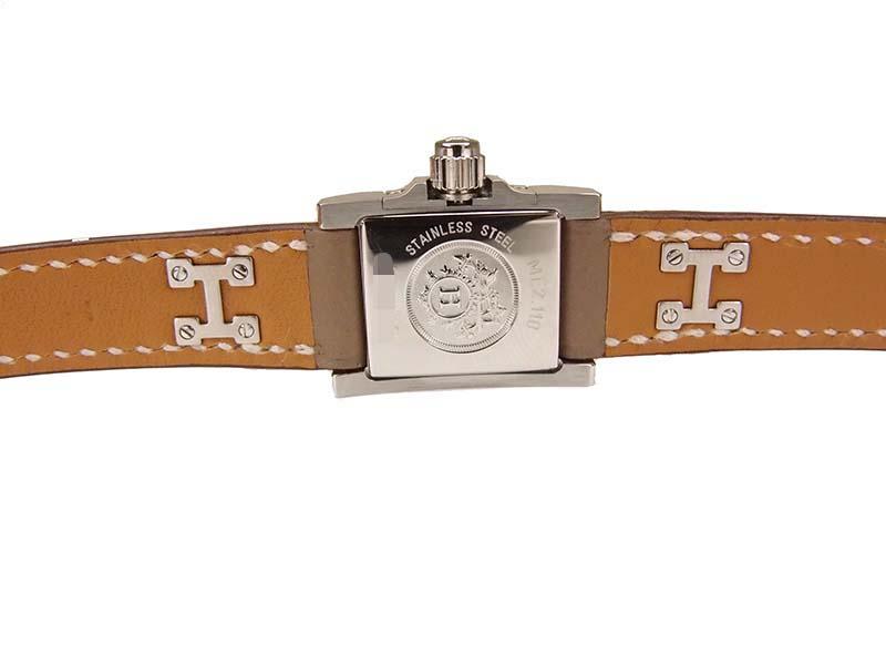 new style bb383 d14d9 h-c412 未使用 エルメス HERMES ミニメドール ブレスレット レディース 腕時計 クォーツ ME2.110 シルバー エトゥープ レザー  保証書付