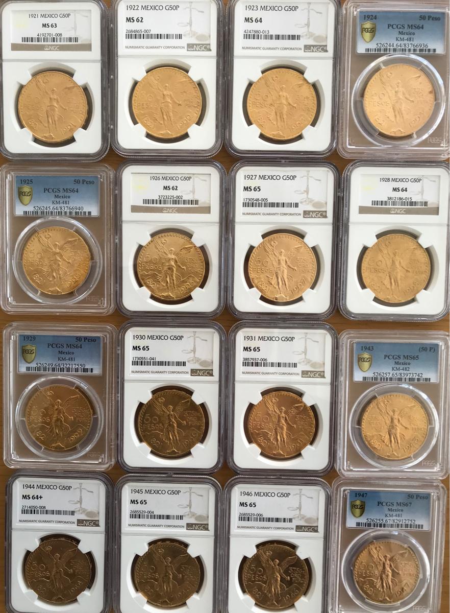 メキシコ 50ペソ大型金貨全年号16個Pcgs/Ngcハイグレード!