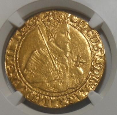【鑑定3枚のみ】1607-09年 イギリス ユナイト金貨 NGC AU55