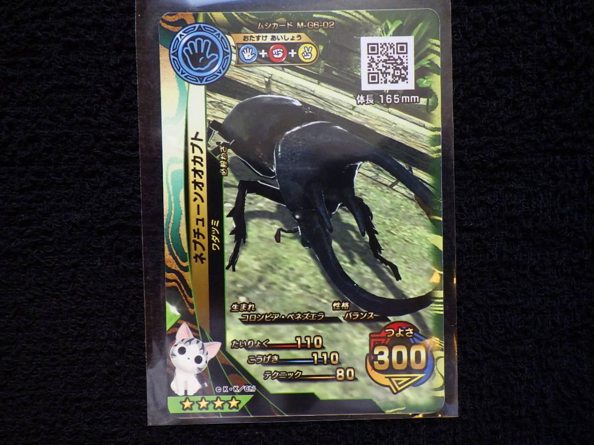 新甲虫王者 ムシキング コラボイベント限定カード! 「こねこのチー」入り M-G6-02 ネプチューンオオカブト ID無し 通常 カード