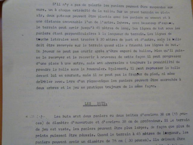 歴史的文書【バスケットボールルール仏語版1892年】ネイスミス著 ヨーロッパに初めて普及したフランスの超稀珍品なバスケットボールルール_上部がフィールド、下部がゴールについて