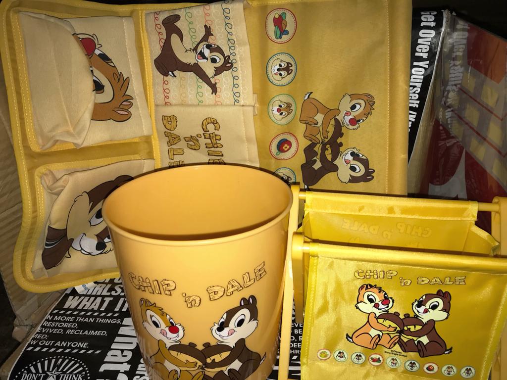 ☆ディズニー チップとデール ウォールポケット 折りたたみラック ダストボックス 3点セット 可愛い インテリア コレクション ディズニーグッズの画像