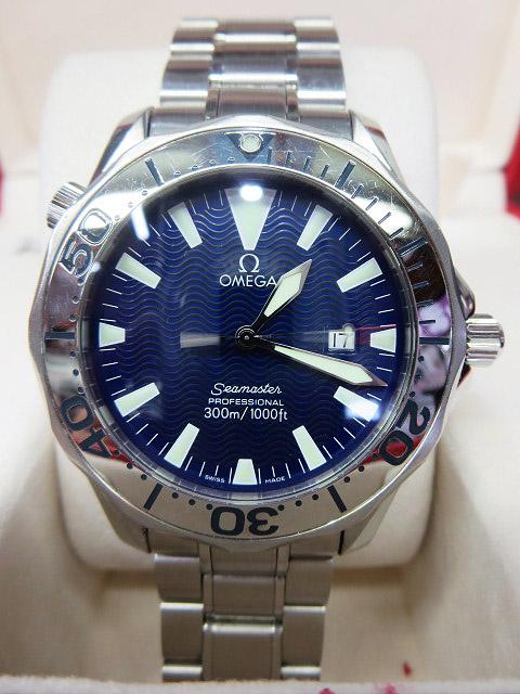 S1018 中古 オメガ シーマスター300 プロフェッショナル ネイビー メンズ 腕時計 OMEGA ケース/外箱/取説付_画像1