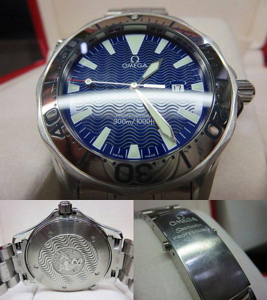 S1018 中古 オメガ シーマスター300 プロフェッショナル ネイビー メンズ 腕時計 OMEGA ケース/外箱/取説付_画像3