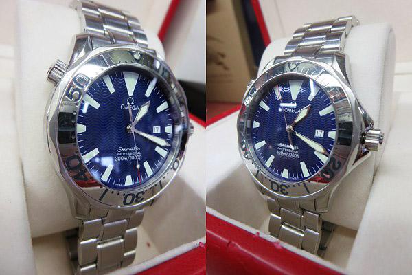S1018 中古 オメガ シーマスター300 プロフェッショナル ネイビー メンズ 腕時計 OMEGA ケース/外箱/取説付_画像2