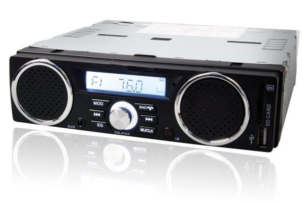 Bluetooth オーディオ 1DIN デッキ 車載 軽トラ バイクスピーカ USB SD スロット RCA 出力 12V  ブルートゥース メディアプレーヤー