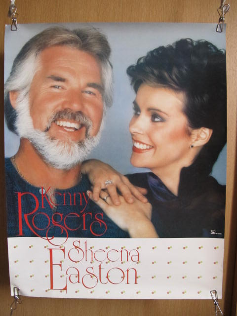 ケニー・ロジャース&シーナ・イーストン ポスター 検索:歌手 ミュージシャン レコード 販促品 80年代 海外 アメリカ