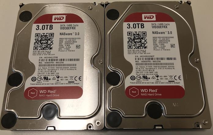 NAS用 WESTERNDIGITAL RED WD30EFRX 3.0TB 2台セット 中古完動品