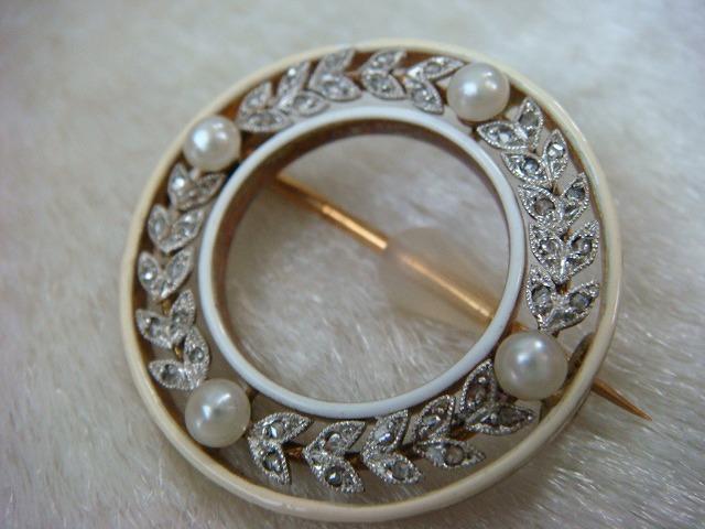 ◎アンティーク エドワーディアン期 ダイヤ&真珠 ブローチ◎_画像3