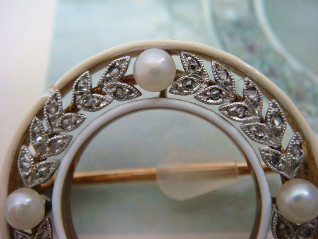 ◎アンティーク エドワーディアン期 ダイヤ&真珠 ブローチ◎_画像10