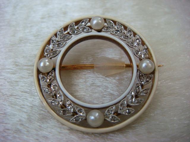 ◎アンティーク エドワーディアン期 ダイヤ&真珠 ブローチ◎_画像1