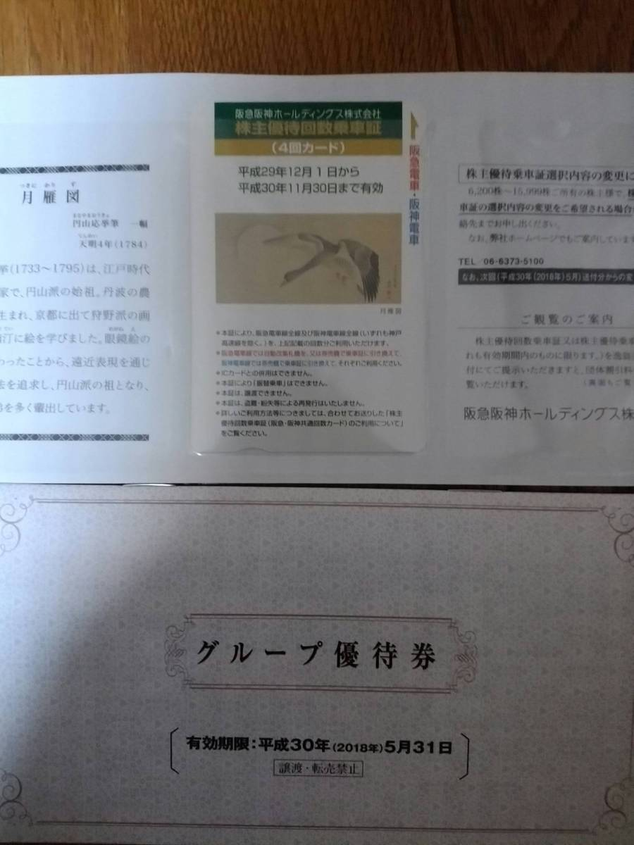阪急阪神ホールディングス 株主優待回数乗車証(4回カード)、グループ優待券1冊