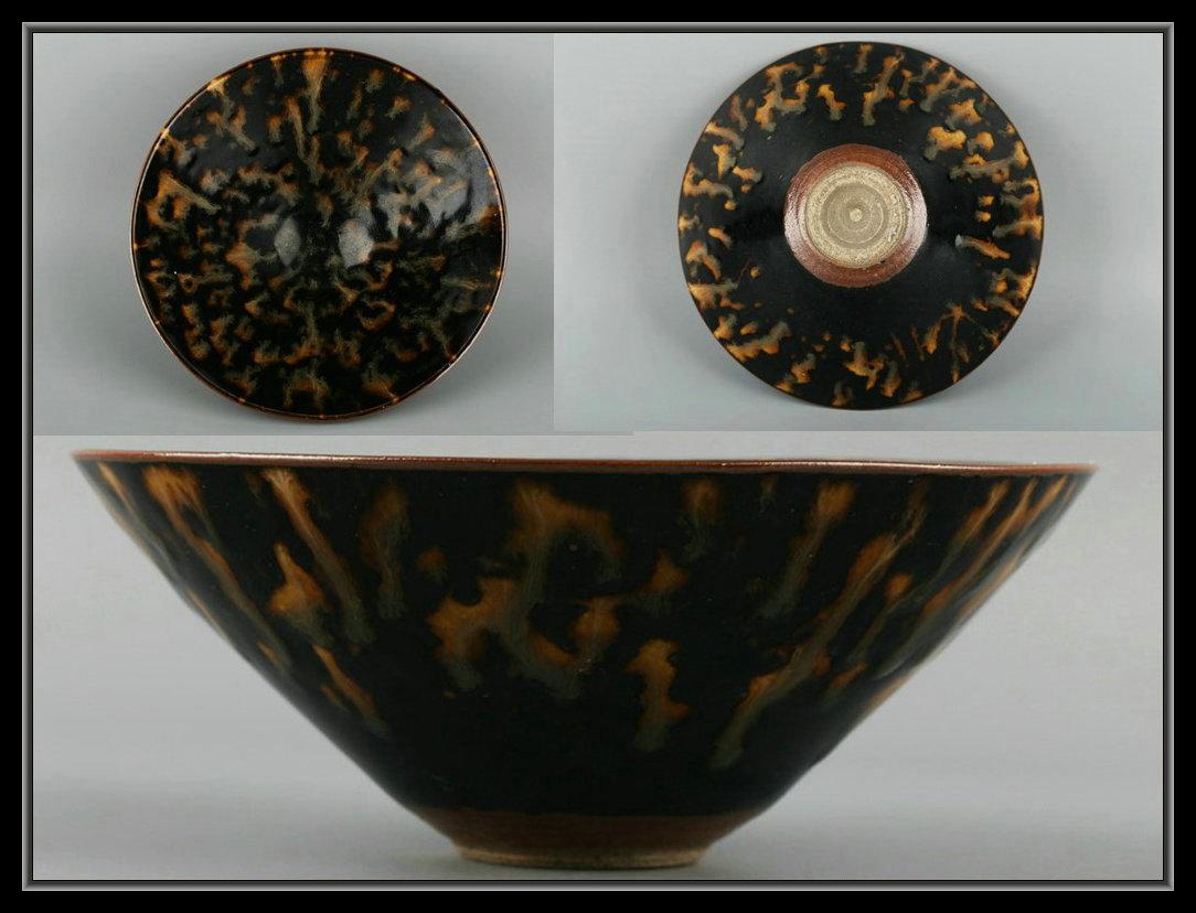 【多寶屋】XP2816■宋時代 吉州窯 虎皮釉 斗笠茶碗 極品■拍卖