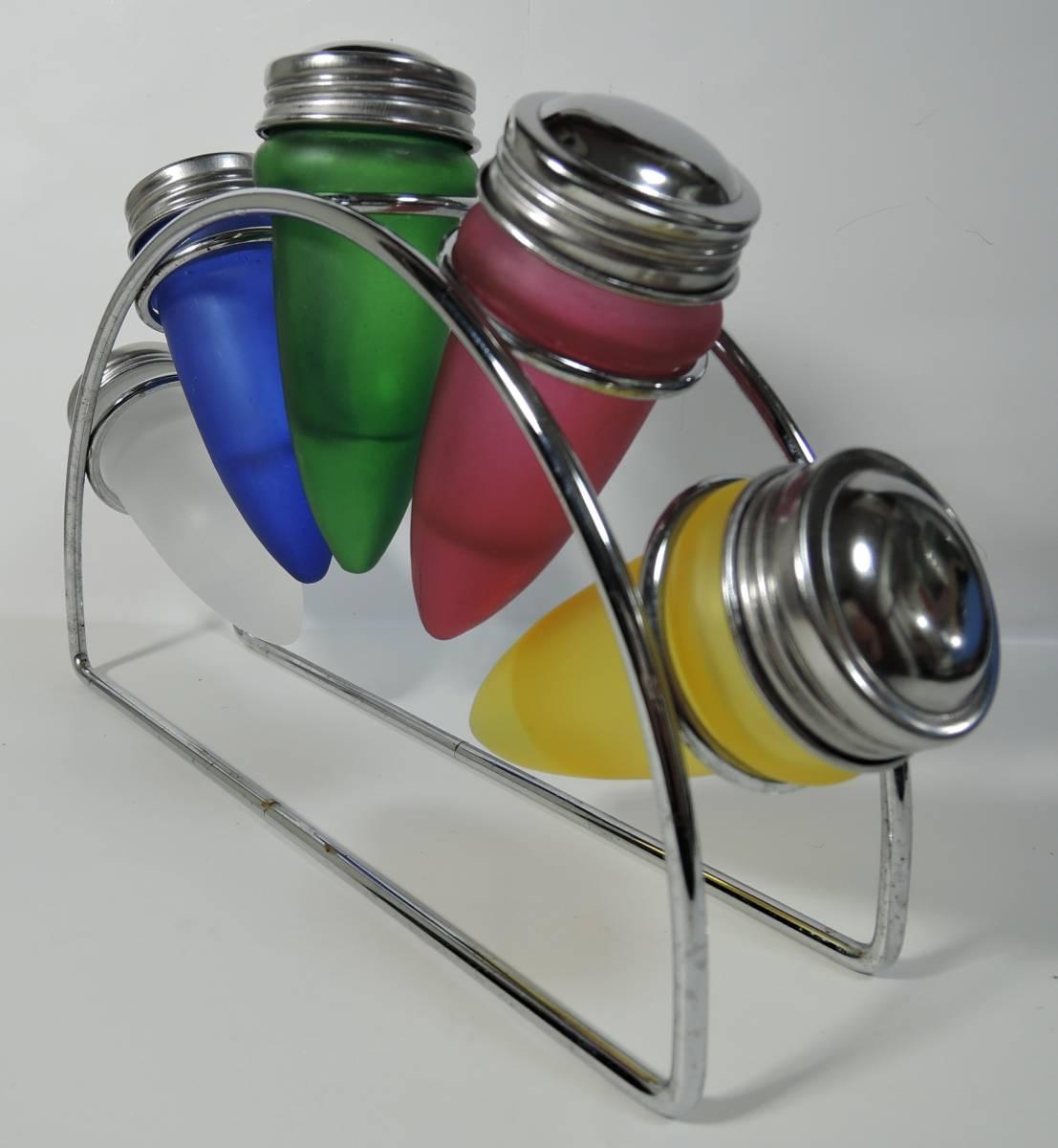 Y03■昭和レトロ カラフルガラス瓶 調味料入 ラック付■_画像2