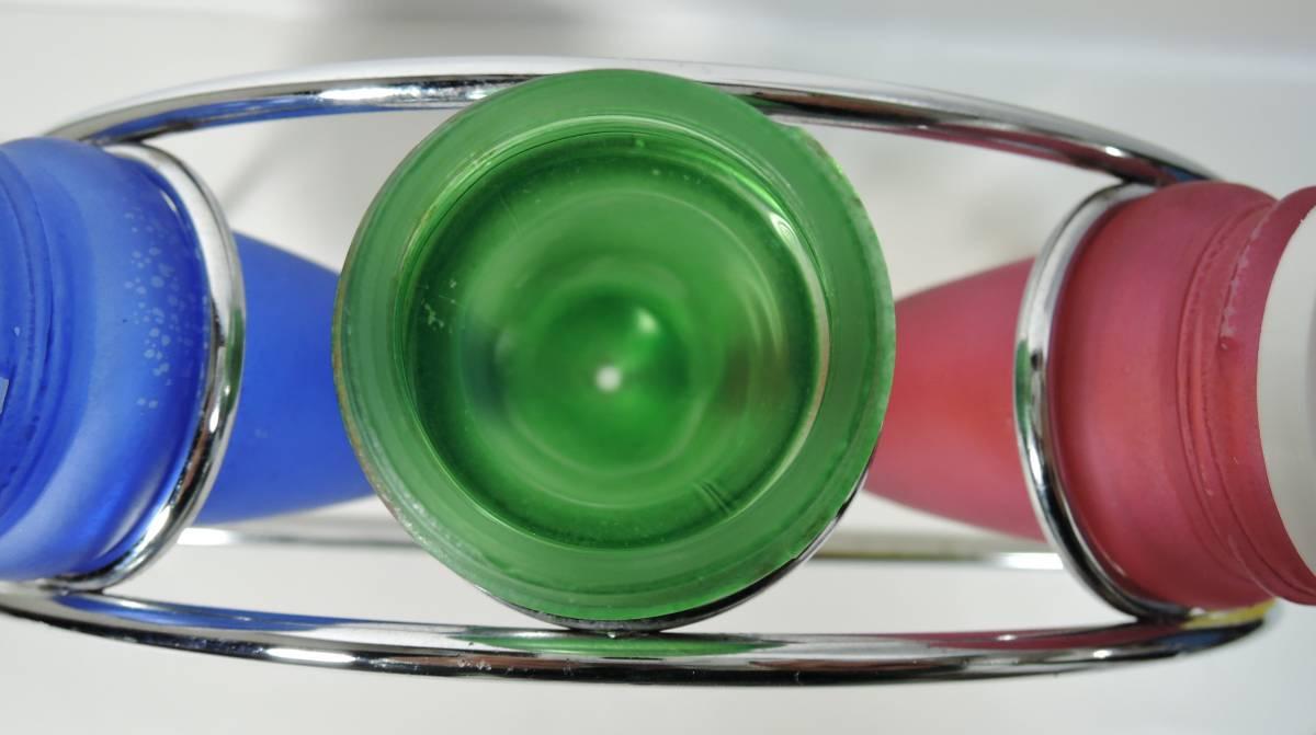 Y03■昭和レトロ カラフルガラス瓶 調味料入 ラック付■_画像6