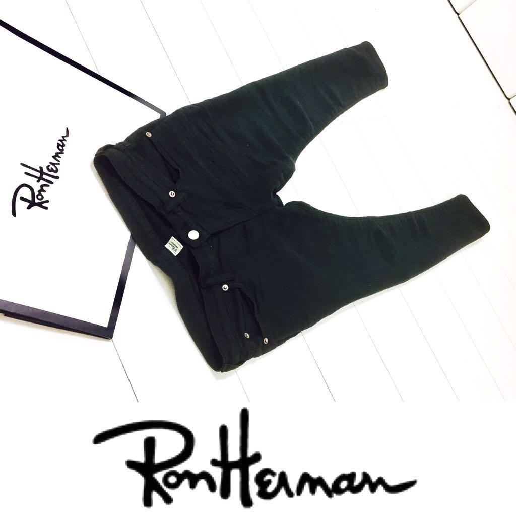 送料無料★即完売品★ロンハーマン RON HERMAN/スウェットデニム パンツ ジョグジーンズ ブラックダメージ