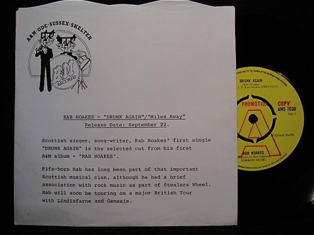 RAB NOAKES (re. Lindisfarne)◎DRUNK AGAIN/MILES AWAY◎UK原盤EP[稀少プロモ]◎美品