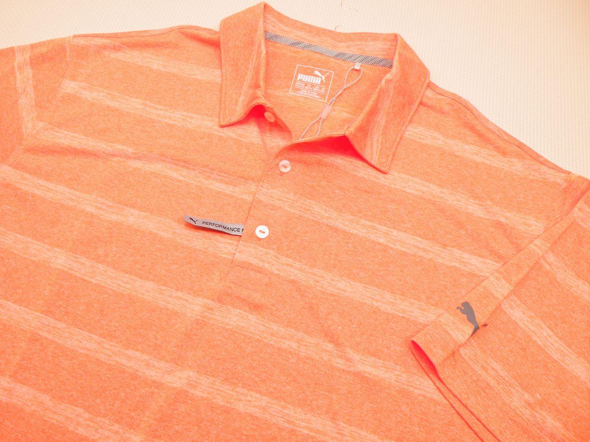 プーマゴルフポロシャツオレンジ ストライプ★US3XL(5L~6L相当 脇下身幅72cm) ★アメリカ直輸入大きいサイズのゴルフウェア多数★送料無料