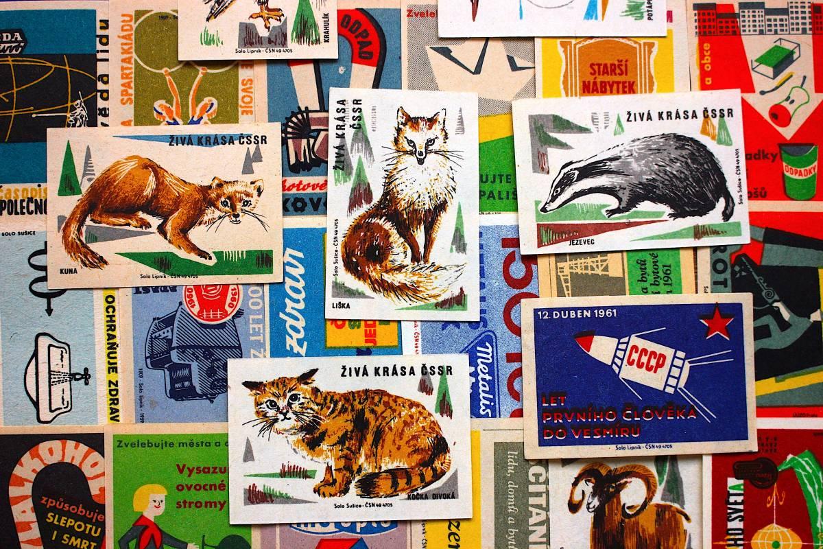 チェコの古いマッチラベル30枚セット03/ヴィンテージ 紙物 ヨーロッパ ヨーロッパ雑貨 ラッピング コラージュ ハンドメイド 動物 美品 /