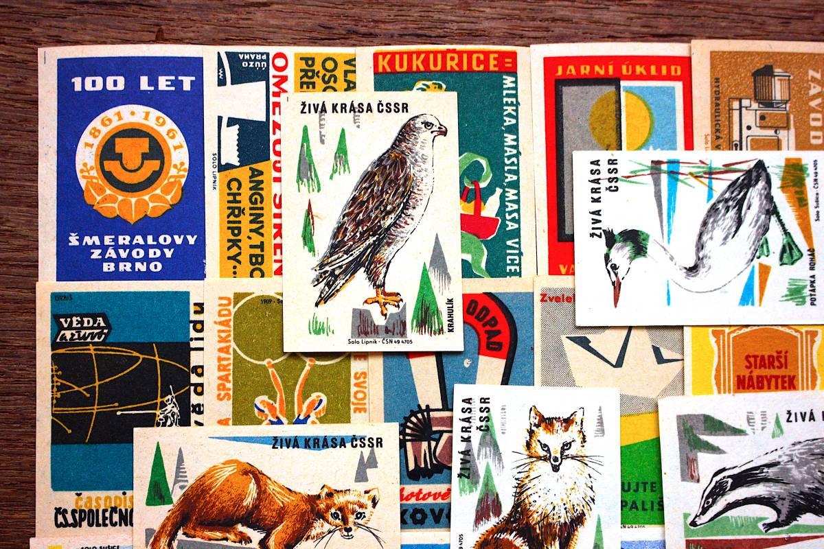 チェコの古いマッチラベル30枚セット03/ヴィンテージ 紙物 ヨーロッパ ヨーロッパ雑貨 ラッピング コラージュ ハンドメイド 動物 美品 /_画像2
