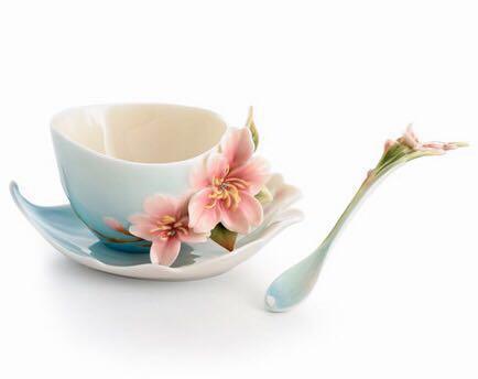 フランツコレクション チェリーブロッサム カップ&ソーサー&スプーンセット FZ01366E 法藍瓷 糸遣捲櫻雪 櫻花杯盤組 花開富貴 吉祥如意