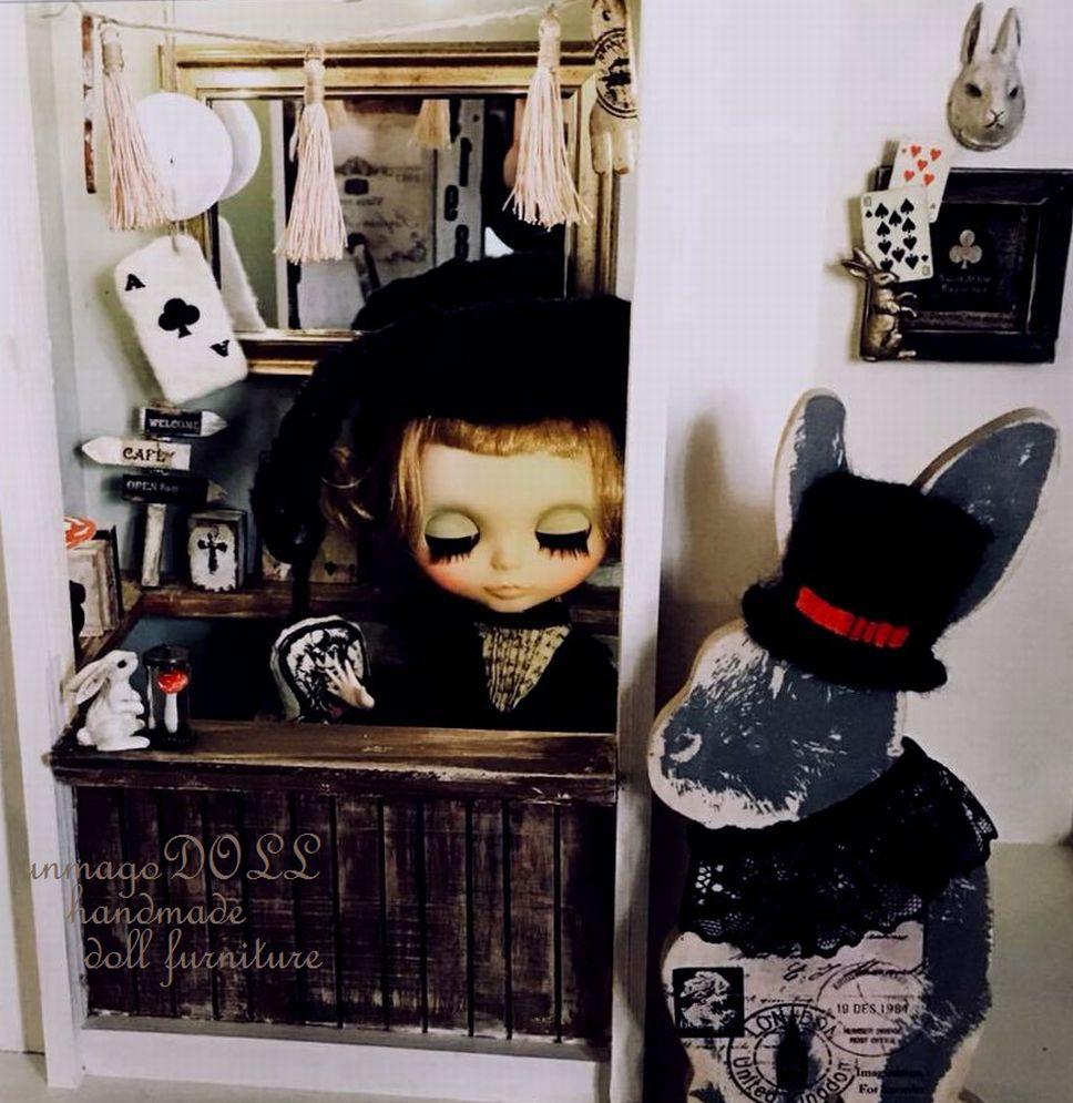 unmagoDOLL 空き家物件 不思議の国アリスルーム Doll house ブロカント風*ウサギ キノコ シャビーシック ブライス/momoko