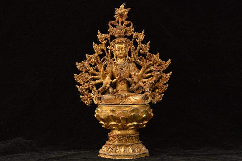 年代物 香港回流 銅製 金鍍 千手観音像 仏像 仏教美術