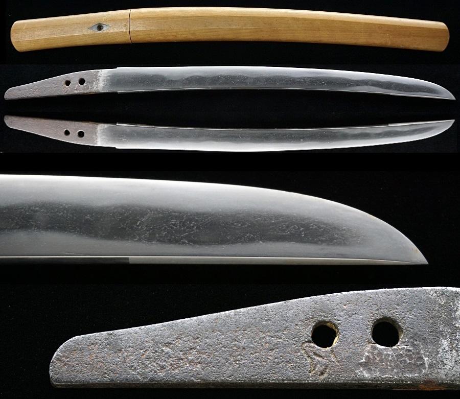 村正(妖刀村正)皆焼刃で中心はタナゴ腹 平造り短刀 白鞘入