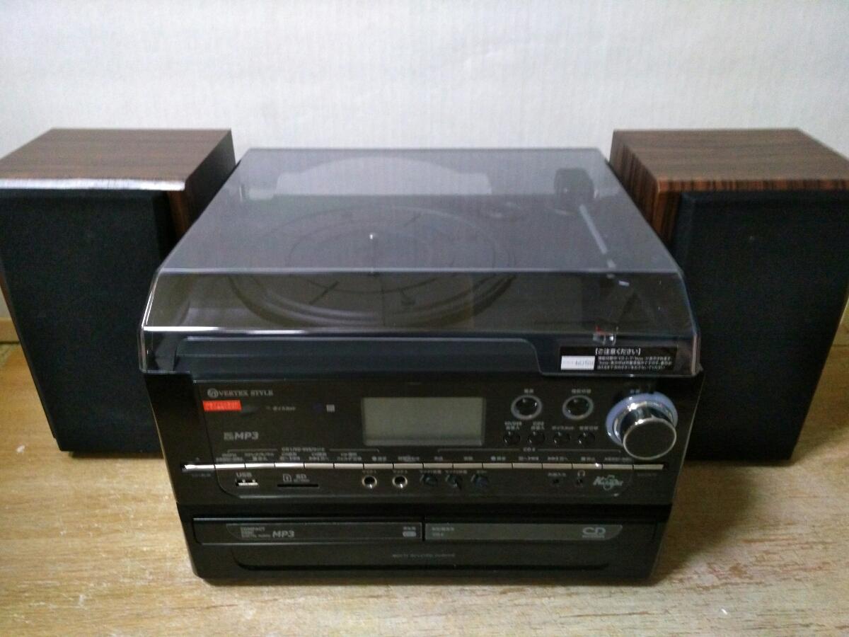美品中古 送料無料 多機能レコードプレーヤー ボイスカット機能 マイク付属 MRP-V002 CD SD LP USB カセット AM FM ラジオ 動作確認済