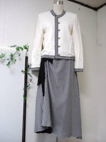 《KANEKO ISAOカネコイサオ》ギンガムチェック ロングスカート セパレートワンピース_画像1
