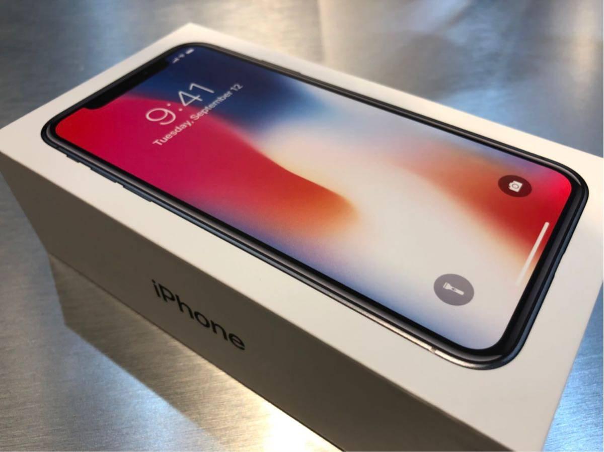 【お買得】iPhone X スペースグレー 256G SIMフリー 本体 + 強化ガラス付き保護フィルム