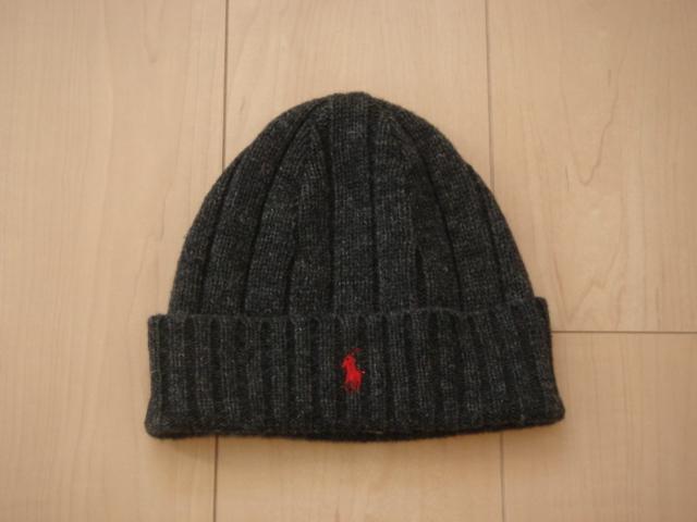 送料込み!Polo Ralph Lauren ラルフローレン ニット帽 チャコールグレー Size56cm