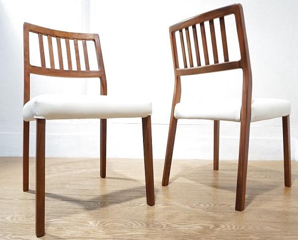 【送料無料】 美品 ウォールナット ダイニングチェア 2脚セット 椅子 イス / 北欧 IDC アクタス IDEE unico カリモク 柏木工 天童木工 無印